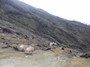 Sulfur miners' baskets, Ijen Crater, Java